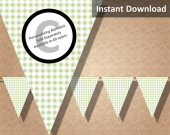 Baby Green Gingham Bunting Pennant Banner Instant Download, Party Decorations