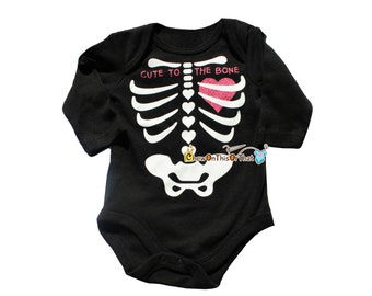 Cute to the Bone Black Skeleton Heart Costume Onesie for Baby Girl First Halloween, Day of the Dead Outfit, Long Sleeve Bodysuit