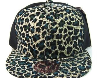 Cheetah Leopard Flat Bill Black Hat Snapback Animal Print Blue