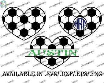 Digital Cut Files, Split & Monogram Soccer Hearts, Football, SVG, DXF, EPS, Sports, Fall, Autumn, Varsity, Silhouette, Cricut, Valentine