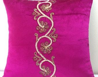 Fuchsia Velvet Pillow Cover Beaded Pillow Embroidered Cushion Cover Pink Throw Pillow Luxurious Pillow Accent Pillow Bedding Hot Pink 16x16