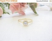 SALE - Diamond ring - Solitaire ring - Fake Diamond ring - Gold ring - CZ engagement ring - Solitaire CZ ring - Round Cz ring - Bridal jewel