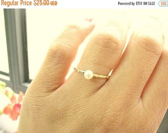 Sale - Pearl ring - Thin Gold pearl ring - fresh water pearl ring -  gold ring with white pearl, (8)