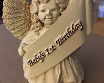 Vintage Baby's first year Angel cake/table topper...FREE shipping
