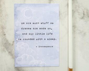 Shakespeare 'Dream's Quote Postcard - Literature Quote - Book Lover Postcard - Stationery - Quote Print