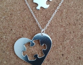 Jigsaw Puzzle Necklace Jigsaw Silver Pendant Heart Silver Necklace Best friend Jewelry Mother Daughter Jewelry