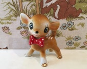 Vintage China Deer Kitsch Bambi Kawaii 1950s Red Bow Tie