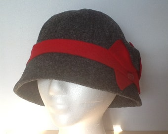 Charcoal Gray Felt Cloche with Red Contrasts