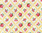 Yellow Floral Fabric - Pink Fabric - Retro Florals - Michael MIller Fabric - Rose Fabric
