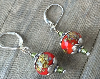 Artisan Lampwork Glass Earrings With Bali Sterling Silver Leverbacks, Boho Earrings, Coral Red Jewelry