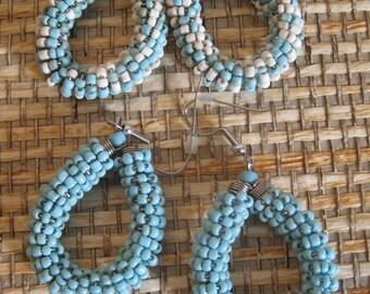 Turquoise Beaded Hoop Earrings, set of two