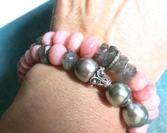 Pink Opal Labradorite Bracelet, Pave Diamond Peruvian opal stack bracelet boho yoga style, stretchy summer bracelet, opal jewelry, gift idea
