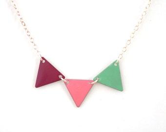 """Necklace """"magenta rose pennant aqua"""""""