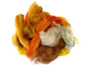Yellow/orange fibre bits for Spinning - Carding Fiber - Merino wool - Scrap Fibre - 100g/3.5oz - BATT FOOD