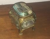 "Beautiful Antique French Ormolu trinket jewelery box, ""ARC de Triomphe, Paris beveled glass lined cushion original silk FRANCE 1900"