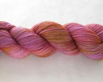 Hand Dyed Sock Yarn - Golden Beauty Sock - Smash Box Redder Variation
