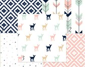 MADE TO ORDER Fawn mint coral navy woodland baby bedding