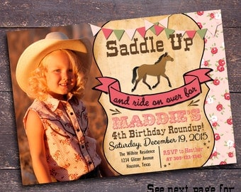 Horse Party Invitation, Girls Western Party Invitation, Cowgirl Party Invitation, Cowgirl Birthday Invitation, Invitation Bloomberry Designs