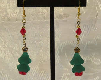 Christmas Tree Earrings - Green and Red Glass