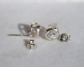 Bezel Set Round White Cubic Zirconia Earrings Sterling Silver