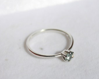 Grayish-Blue Zircon Ring Dainty Round Solitaire Stacker Ring Sterling Silver