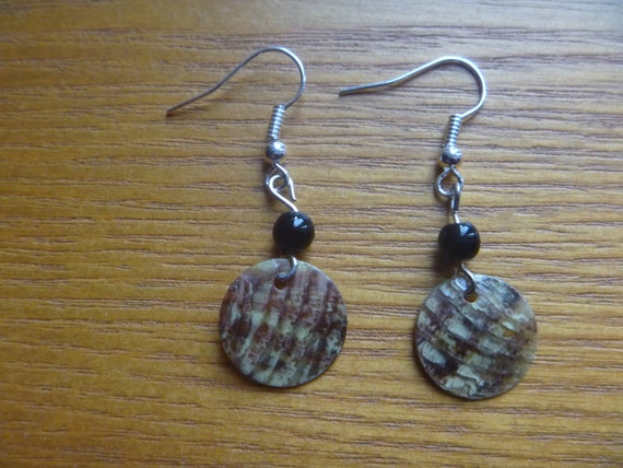 dangle earrings, brown, olive green and black beaded dangle earrings, ecofriendly