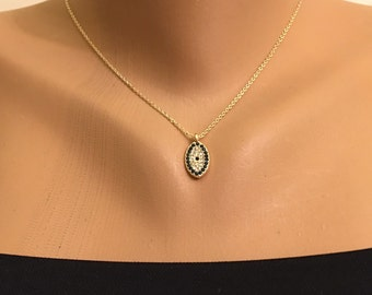 Gold Plated Evil Eye Rhinestone Necklace Gold Studded Rhinestone Evil Eye Necklace Amulet Pendant Gift for Her Nazar Turkish Necklace