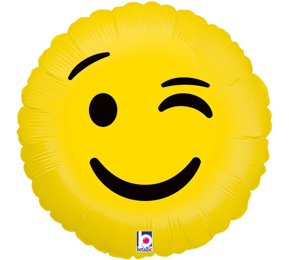 Items Similar To EMOJi ~WiNK' ~Foil Balloon With Ribbon