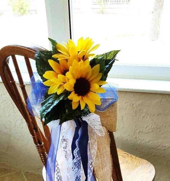 Sunflower Chair burlap sunflower navy pew bows set of 4 chair decoration