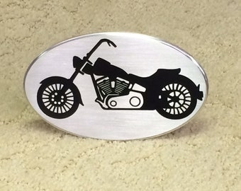 V-twin motorcycle with tall handle bars hitch cover