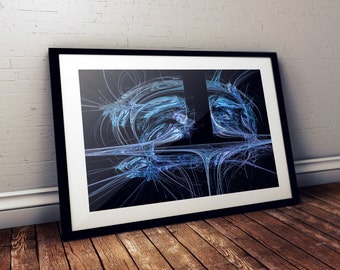 Blue Fractal Art - Abstract Art - Sacred Geometry -  Blue abstract Print - Fractal Art Photography - Abstract Photography - Original Art