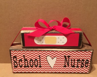 School nurse, wooden block set, nurse, clinic decor, shelf sitter, nurse gift