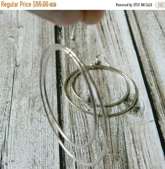 ON SALE Minimal hoop earrings, sterling silver hoop earrings, silver double hoops, big hoop earrings, hammered hoop earrings, textured hoops