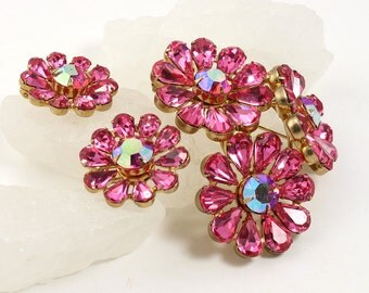 Regency Rhinestone Brooch & Earrings // 1950s to 1960s // Clip Ons // Statement Pin // Rhinestone Jewelry // Designer Signed // Pink