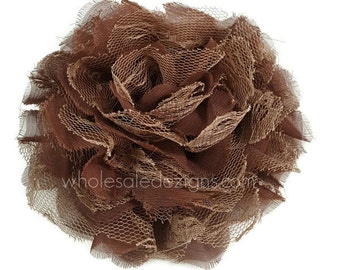 """Brown Chiffon and Lace XL Flower - Fluffy and Full - 5 inches - 5"""" flowers - Large"""