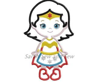 Wonder Woman Super Hero Embroidery Design