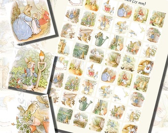Beatrix Potter's Peter Rabbit Printables, ONE INCH SQUARES (25 mm), with 1/2 inch (13mm) and 3/4 inch (20mm) squares also included
