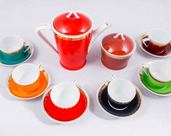 Hollohazi coffee set, porcelain coffee set, gold decorated coffee set, NOS coffee set, colorful coffee set, luxury coffee set