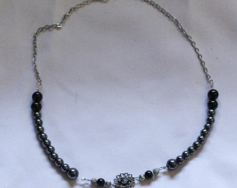 Up-cycled metal and Hematite Necklace