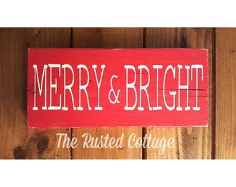 Hand painted sign/Merry and Bright/ Holiday Sign/6x12in