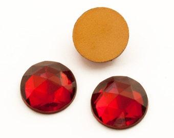 36 Red Faceted Rhinestones, 13mm Round Foiled Flatback, Vintage Preciosa Rauten Rose Cabachon, Mixed Media Jewelry Craft Embellishment