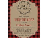 Christmas Baby Shower Invitations - Printable Wreath - Christmas Shower - Emailed Directly To Your Inbox in 1 Business Day or Less