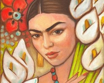 Frida Kahlo Art Print Canvas Wrap Mexican Folk Art Frida Large Painting Diego Rivera Decor wall poster
