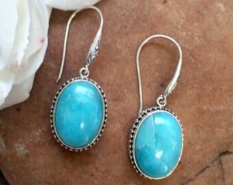 Turquoise Earrings, Turquoise Dangle Earrings, Silver Turquoise Earrings, Sterling Silver .925 Turquoise Bali Earrings, Turquoise jewelry