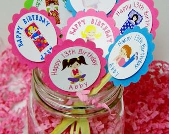 Personalized Sleepover Birthday Cupcake Toppers  - Slumber Party Cupcake Toppers - Slumber Party Cupcake Favors - Sleepover Cupcake Favors
