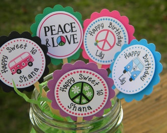Personalized 60's Birthday Cupcake Toppers  - Hippies Cupcake Toppers - 1960's Cupcake Toppers - Reunion Cupcake Toppers Peace Love
