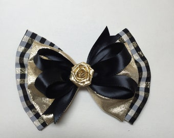 Elegant Black and Gold Lame Hair Bow Dressy Holiday Flower Girl Pageant Fancy Boutique