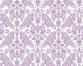 Riley Blake Damask Fabric/Lavender on White/Cotton Sewing Material/Quilt, Clothing, Apron, Pillowcase/Fat Quarter, Half Yard, 1 Yard