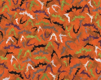 Bat Attack in Fright Night - Eerie collection - Moda - Fat Quarter, Half Yard or More