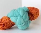 Thrummed MITTEN Kit - Orange/Teal- Hand dyed Merino yarn, roving and pattern